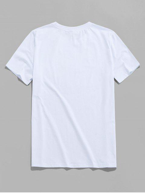 outfits ZAFUL Letter Printed Short Sleeves T-shirt - WHITE S Mobile