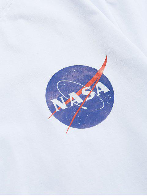 ZAFUL Buchstabedruck T-Shirt mit Kurzen Ärmeln - Weiß S Mobile