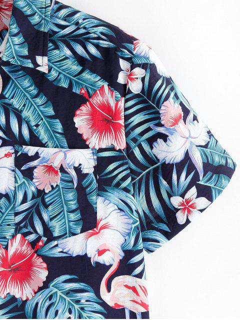 fancy ZAFUL Floral Leaf Print Short Sleeves Shirt - MULTI L Mobile