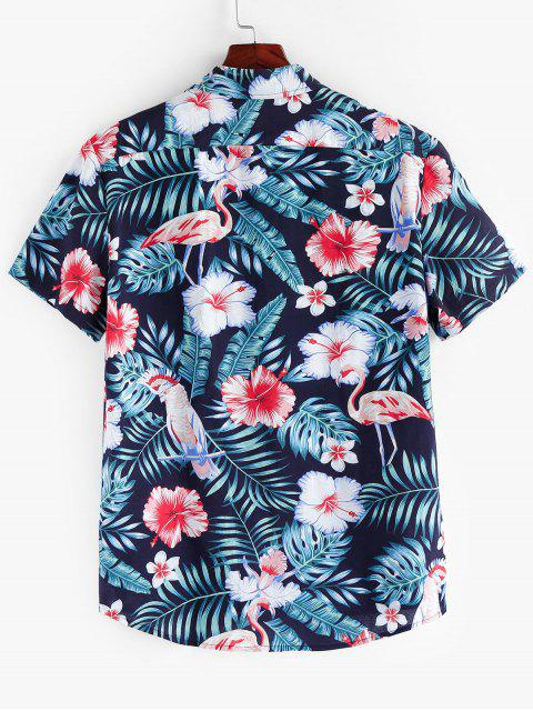 unique ZAFUL Floral Leaf Print Short Sleeves Shirt - MULTI XL Mobile