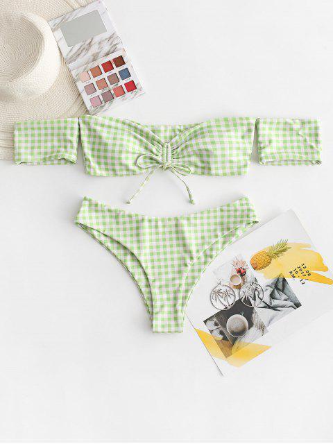 sale ZAFUL Gingham Cinched Off Shoulder Bikini Swimsuit - LIGHT GREEN L Mobile