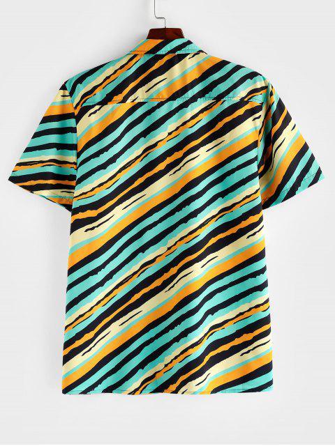 women's ZAFUL Striped Chest Pocket Short Sleeve Button Shirt - MULTI S Mobile
