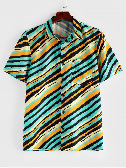 ladies ZAFUL Striped Chest Pocket Short Sleeve Button Shirt - MULTI M Mobile