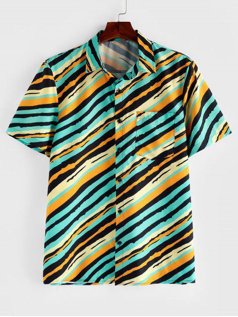 lady ZAFUL Striped Chest Pocket Short Sleeve Button Shirt - MULTI L Mobile