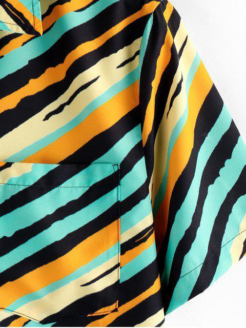 best ZAFUL Striped Chest Pocket Short Sleeve Button Shirt - MULTI XL Mobile