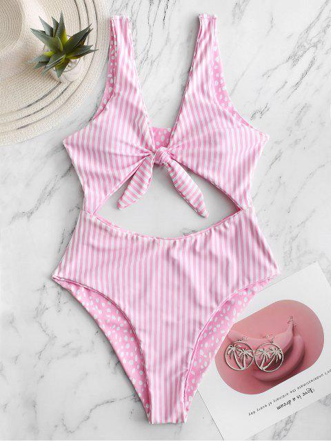unique ZAFUL Dalmatians Stripes Reversible Tie Front Cut Out Swimsuit - PINK M Mobile