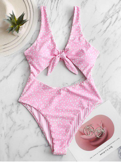 sale ZAFUL Dalmatians Stripes Reversible Tie Front Cut Out Swimsuit - PINK L Mobile