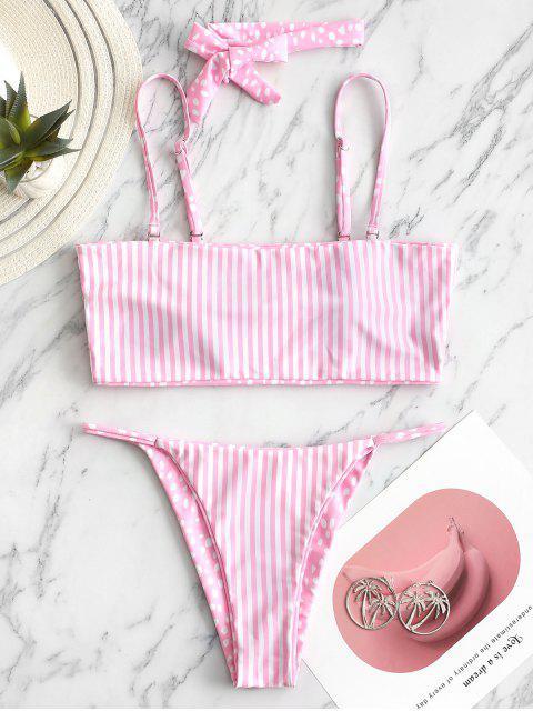 ZAFUL Maillot de Bain Bikini Réversible Rayéavec Ras-du-Cou - Rose  M Mobile