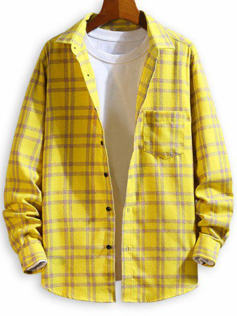 ladies Chest Pocket Plaid Button Up Long Sleeve Shirt - YELLOW M Mobile