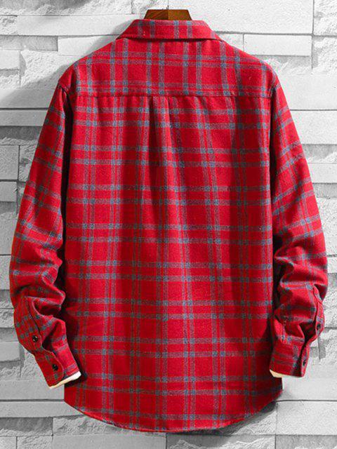 胸ポケットチェック柄ボタン付き長袖シャツ - 赤 M Mobile