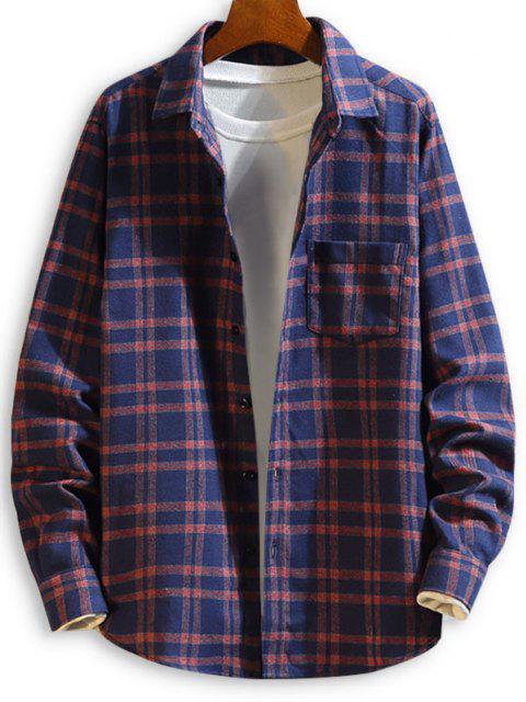 Camisa a Cuadros Mangas Largas con Botón y Bolsillo en Pecho - Azul Profundo XL Mobile