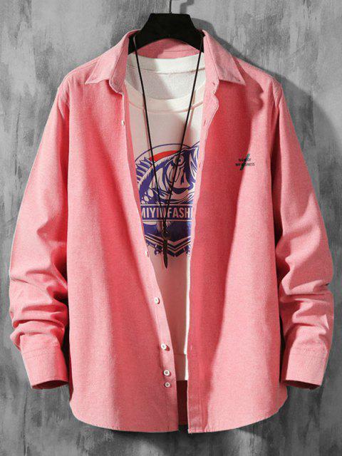 Chemise Boutonnée Lettre Imprimée en Couleur Unie à Manches Longues - Rouge Rose 2XL Mobile