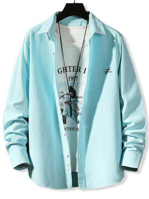 Chemise Boutonnée Lettre Imprimée en Couleur Unie à Manches Longues - Bleu clair 4XL Mobile