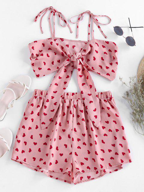 women's ZAFUL Heart Print Tie Shirred Co Ord Set - FLAMINGO PINK M Mobile
