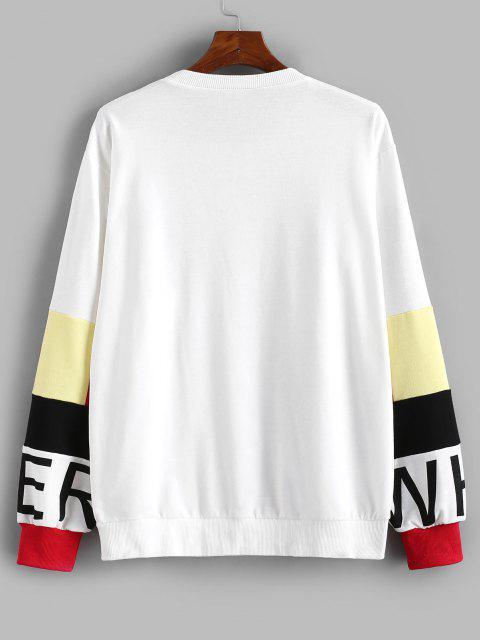 Sweat-shirt Décontracté Motif de Lettre en Blocs de Couleurs - Blanc L Mobile