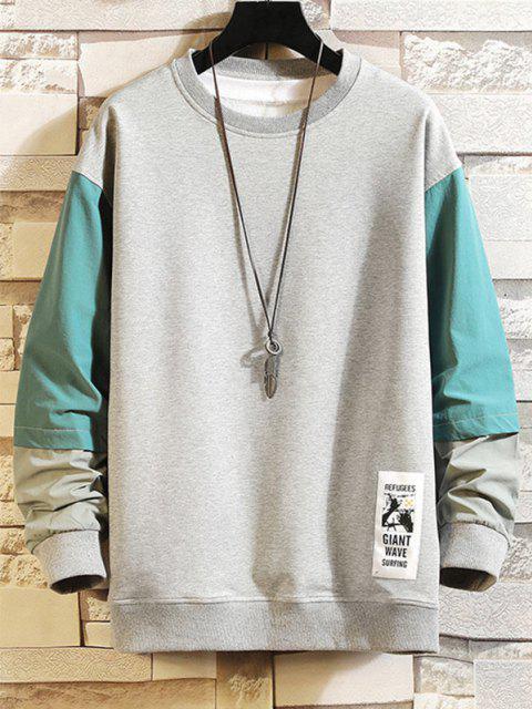 women Colorblocking Spliced Faux Twinset Sweatshirt - GRAY 3XL Mobile