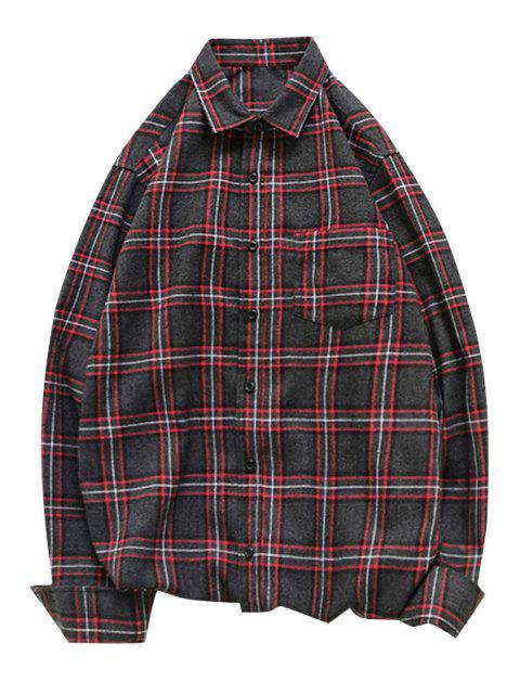 チェック柄長袖ボタン付きポケットシャツ - 赤 M Mobile