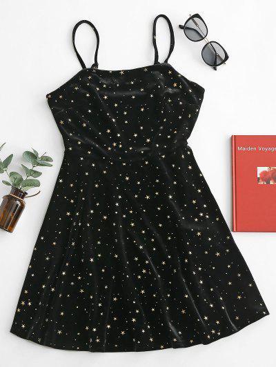 ZAFUL Stars Velvet Flared Cami Dress - Black Xl