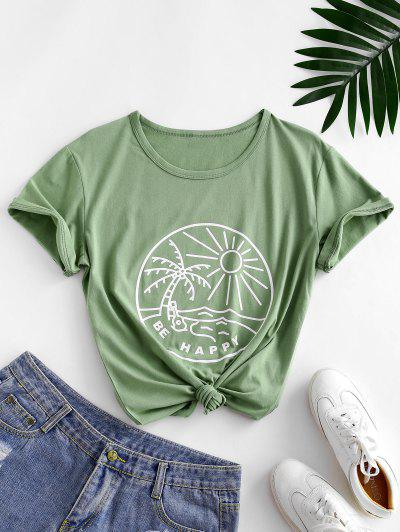 Funny Coconut Tree And Sun Graphic Cotton Tee - Light Green S