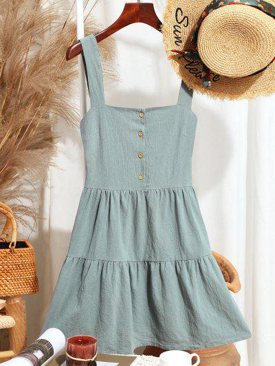 ZAFUL Casual Half Buttoned Straps Mini Dress - Light Green Xl
