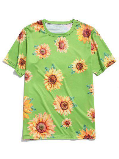 Kurzarm Sonnenblumendruck Urlaub T-Shirt - Grüne Zwiebel 2xl