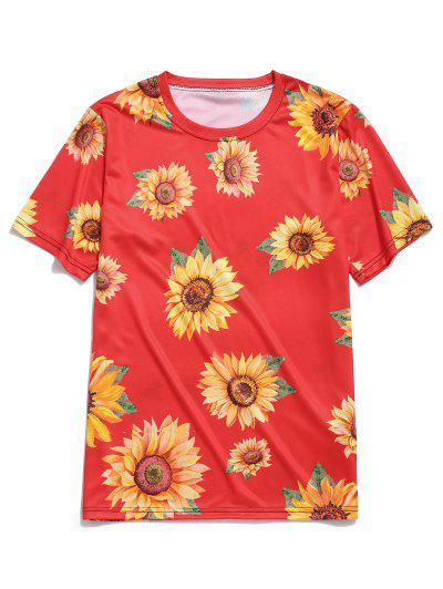 Kurzarm Sonnenblumendruck Urlaub T-Shirt - Rot 3xl