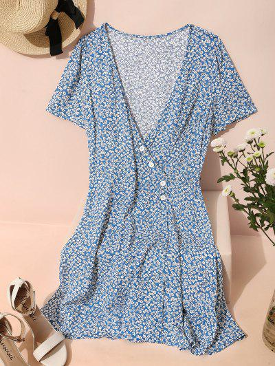 ZAFUL Ditsy Floral Surplice Mini Belted Dress - Blue M