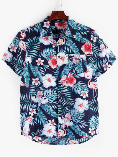 ZAFUL Floral Leaf Print Short Sleeves Shirt - Multi L