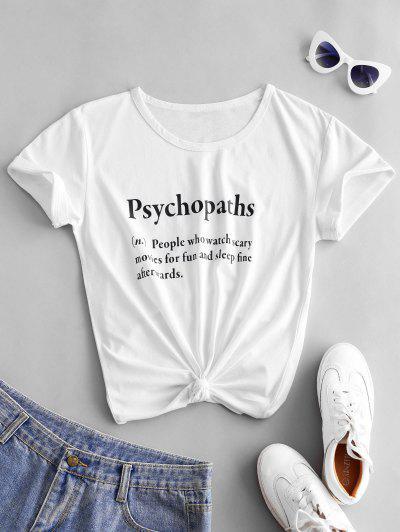 Psychopaths Definition Short Sleeve T-shirt - White 2xl