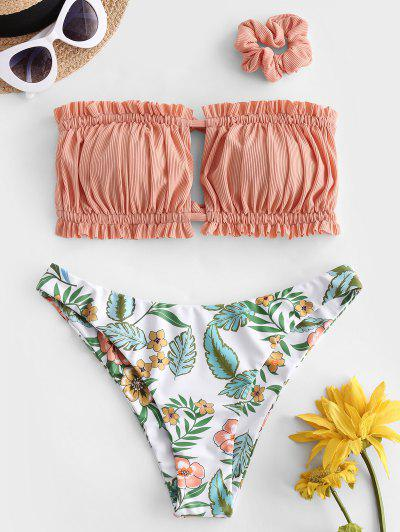 ZAFUL Ribbed Flower Ruched Bandeau Bikini Swimwear With Scrunchie - Dark Salmon S