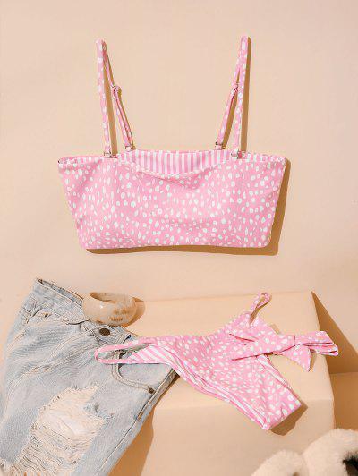 ZAFUL Reversible Dalmatians Stripes Choker Bikini Swimsuit - Pink S
