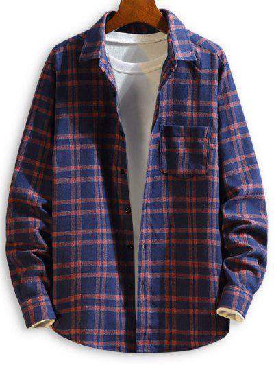 Camisa Xadrez De Manga Comprida Com Peito - Azul Escuro M