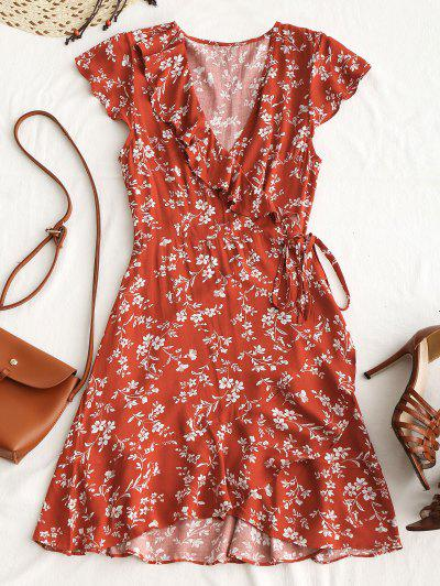 Tiny Floral Ruffle Mini Wrap Dress - Chestnut Red L