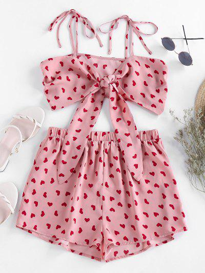ZAFUL Heart Print Tie Shirred Co Ord Set - Flamingo Pink M