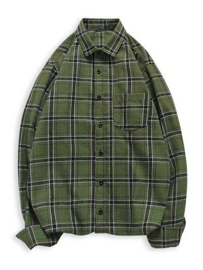 Plaid Button Up Long Sleeve Pocket Shirt - Army Green L