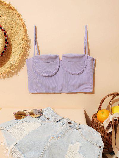 ZAFUL Ribbed Underwire Bustier Bikini Top - Lavender Blue S
