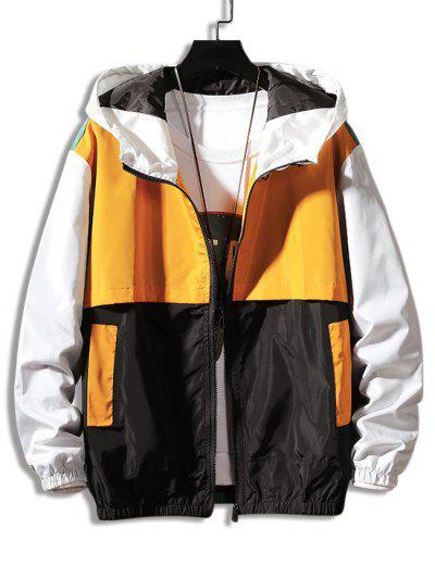 Colorblock Panel Hooded Jacket - Yellow M