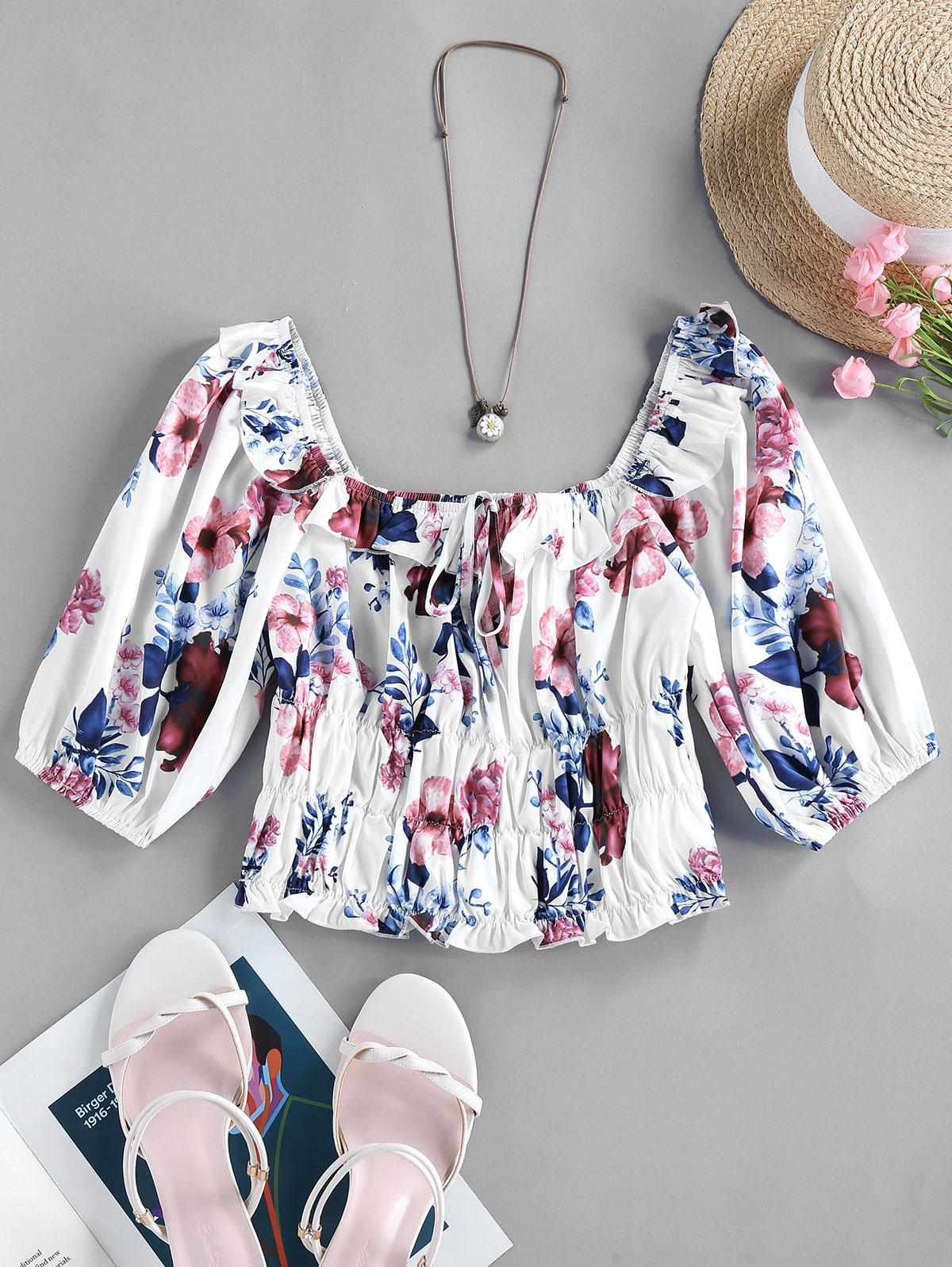 ZAFUL Floral Ruffle Ruched Milkmaid Top