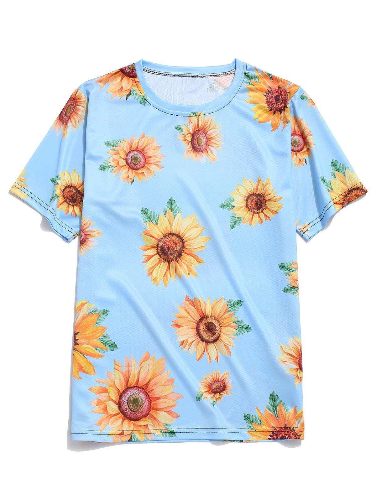 Short Sleeve Sunflower Print Vacation T-shirt фото
