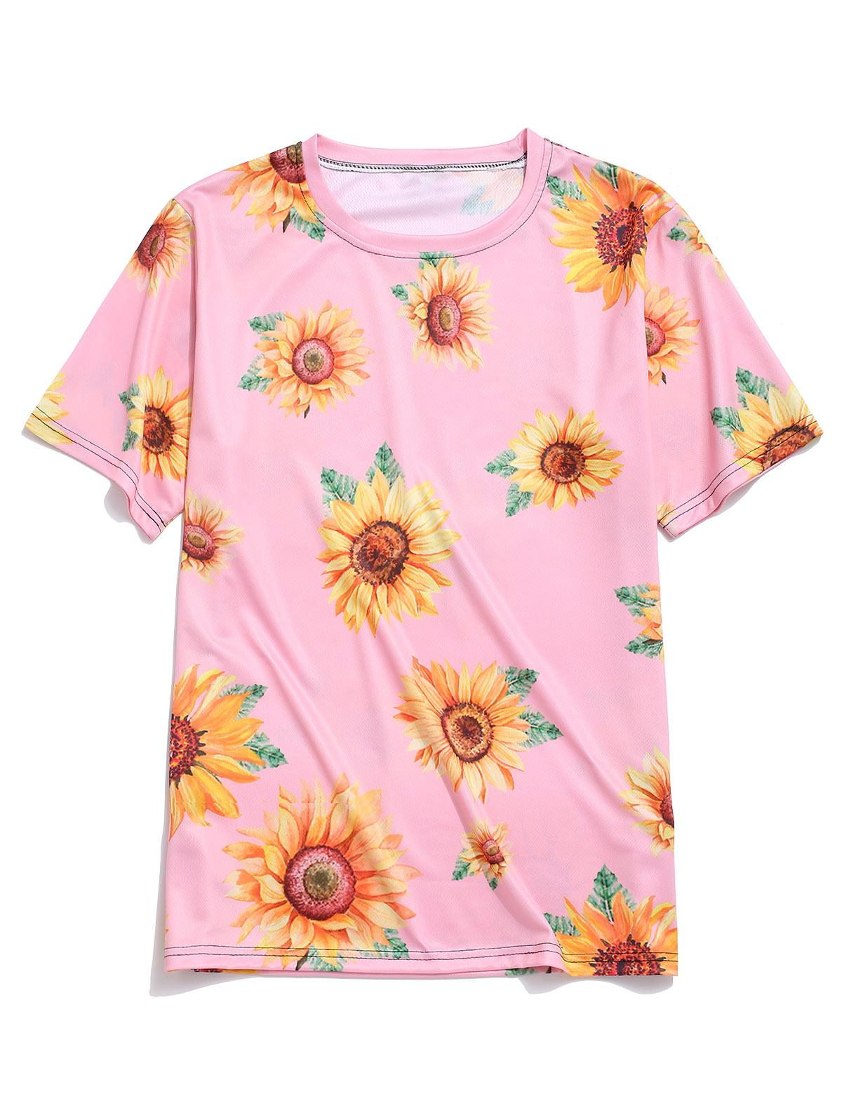 Short Sleeve Sunflower Print Vacation T-shirt фото