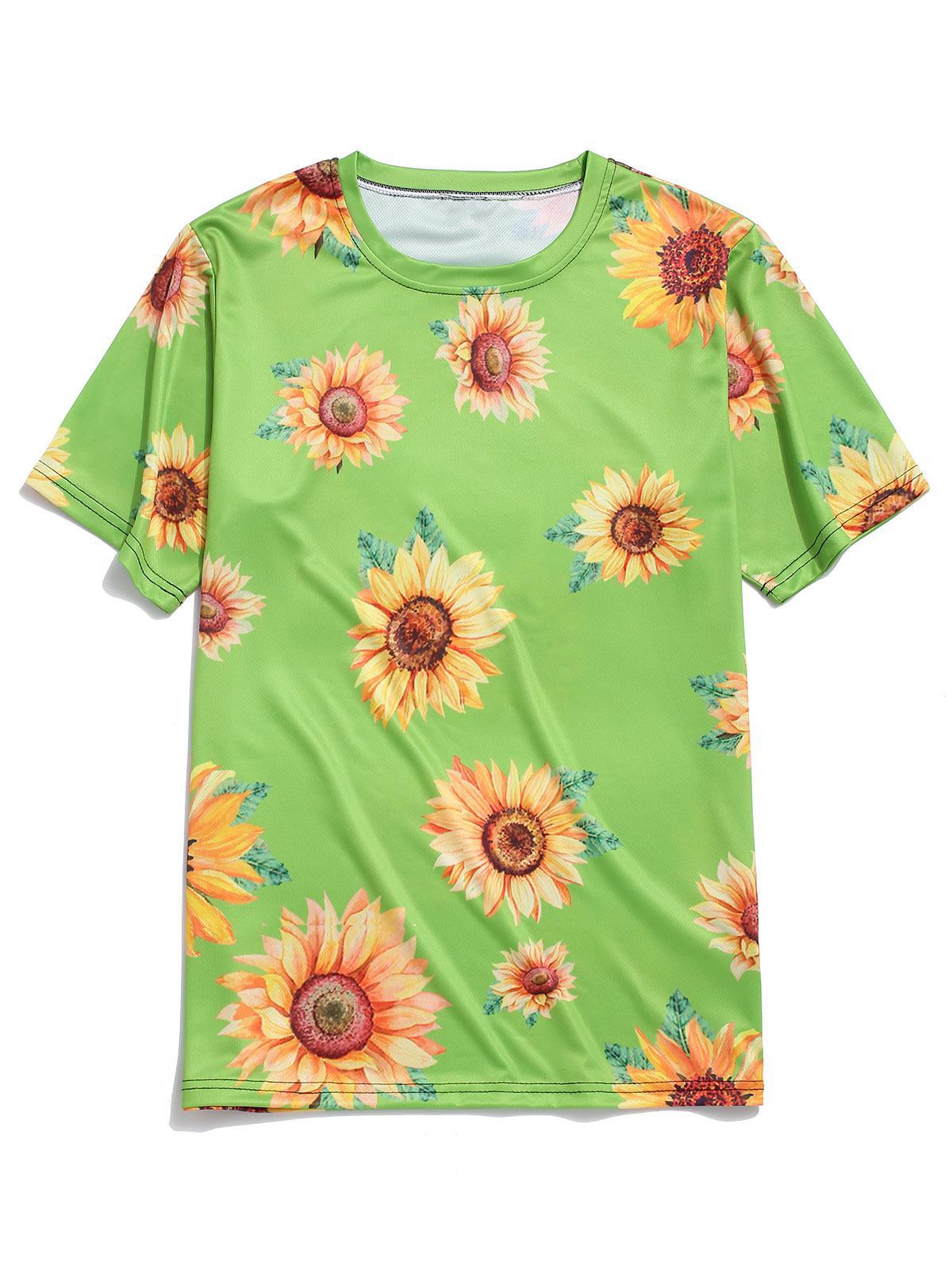 Short Sleeve Sunflower Print Vacation T-shirt thumbnail