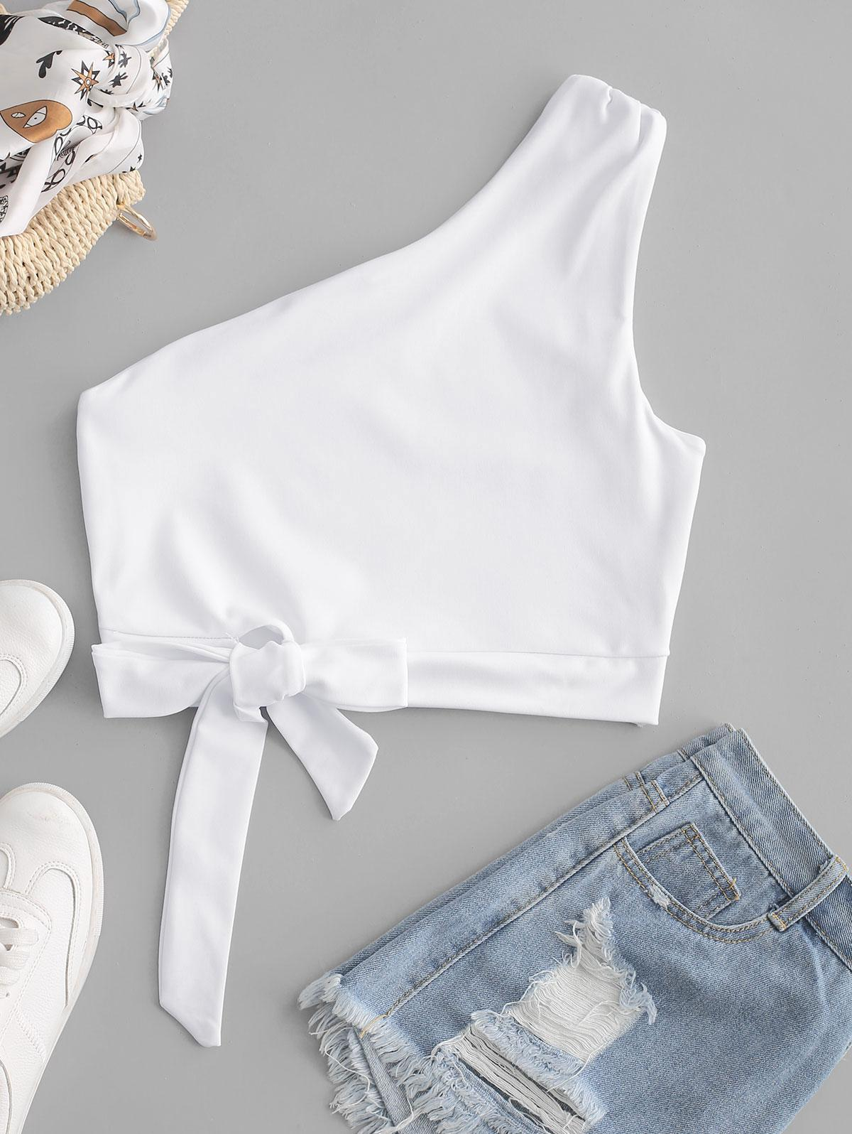 One Shoulder Knotted Crop Tank Top