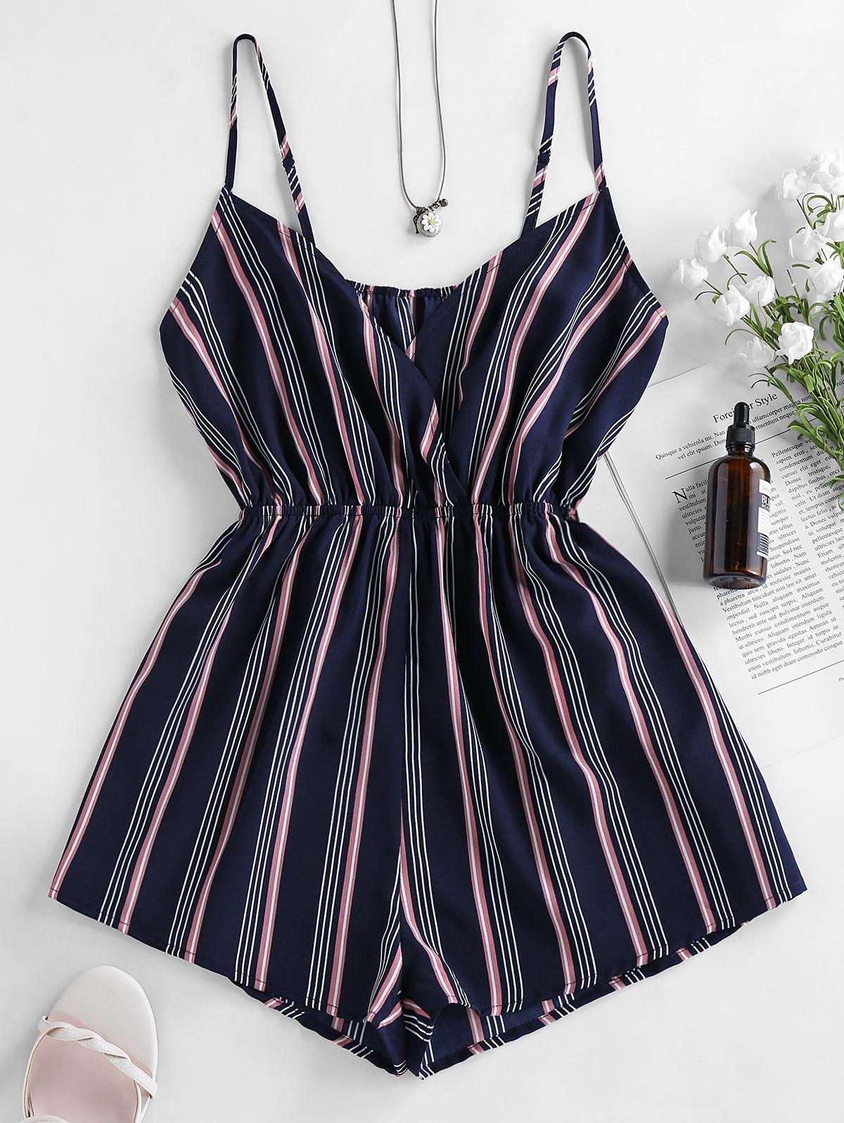 ZAFUL Striped Cami Loose Surplice Romper