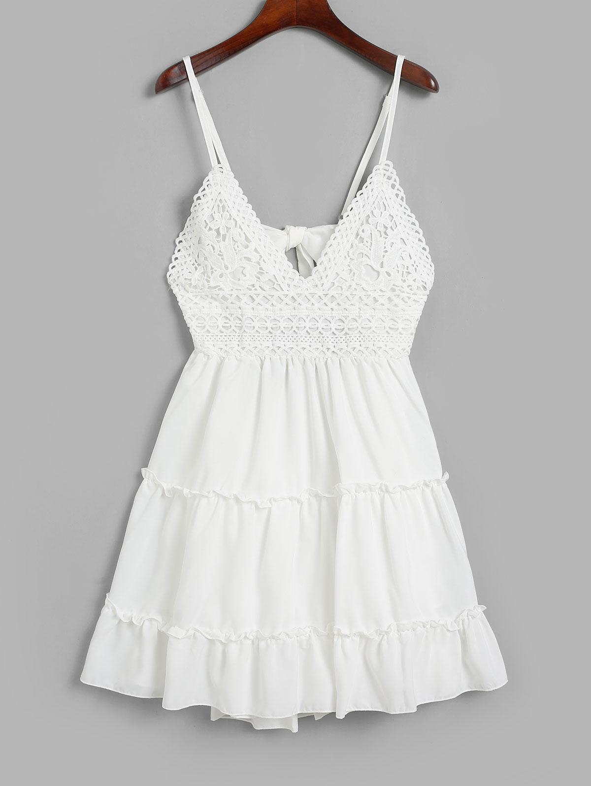 Knotted Back Crochet Panel Flared Cami Dress фото
