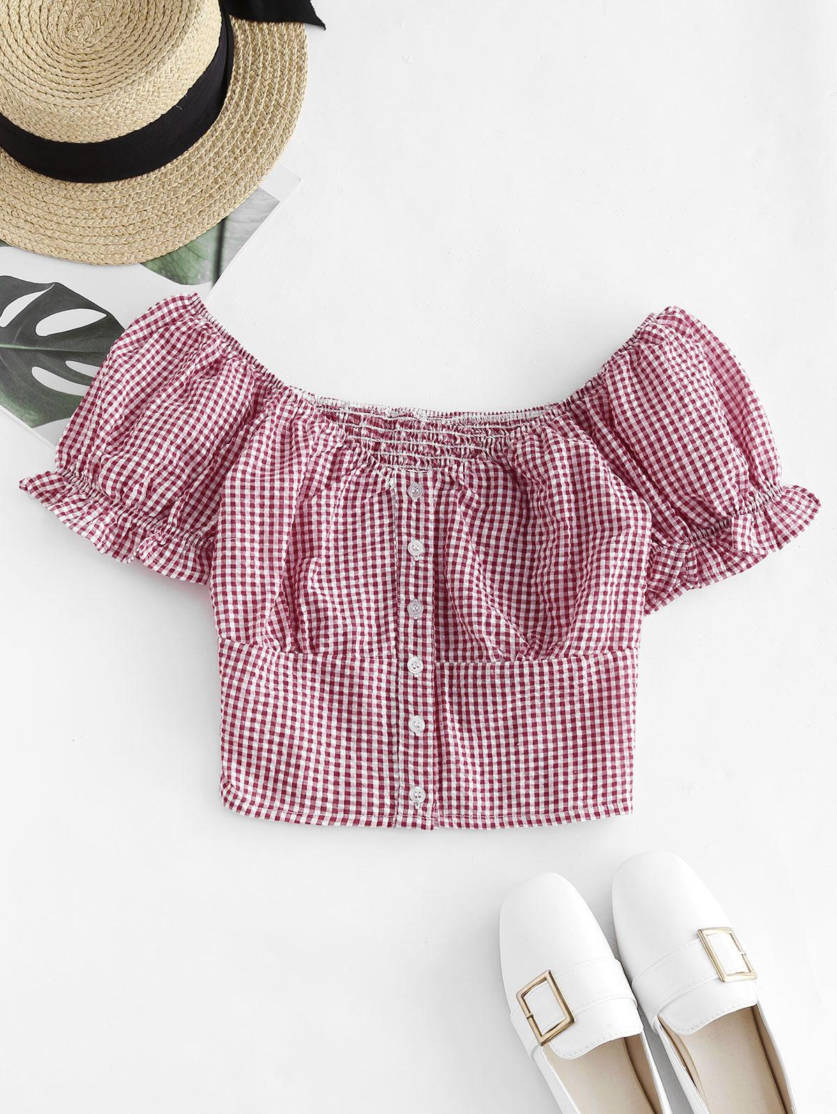 Gingham Smocked Button Up Ruffle Crop Blouse