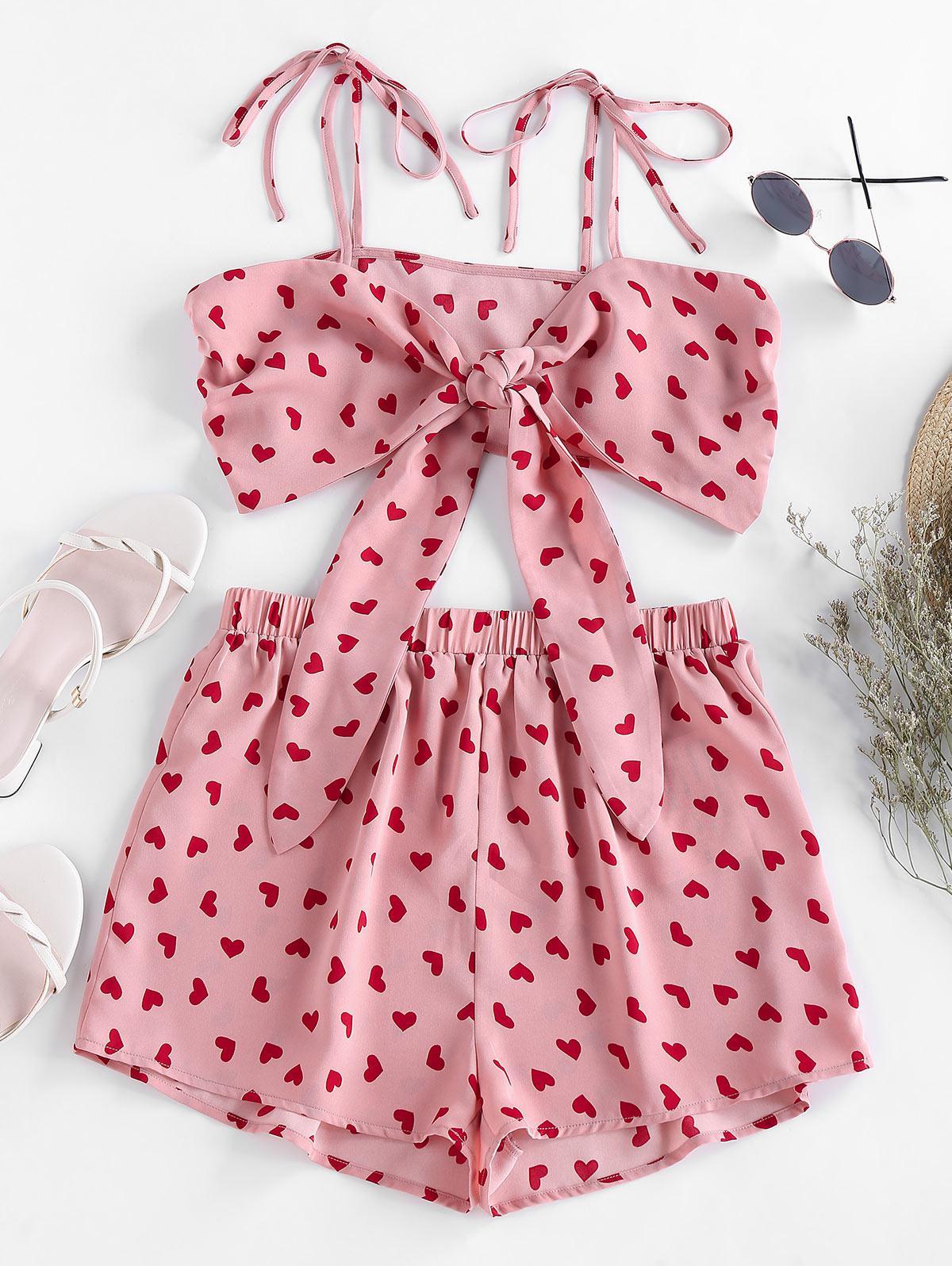 ZAFUL Heart Print Tie Shirred Co Ord Set