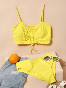Solid Cinched Tankini Swimsuit