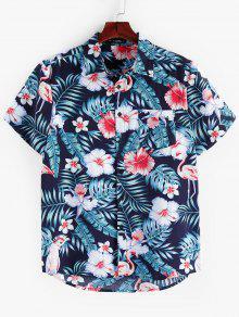 ZAFUL الزهور ورقة طباعة قميص بأكمام قصيرة - متعدد L