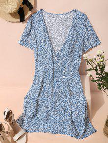 ZAFUL Ditsy الزهور الرداء الكهنوتي البسيطة مربوط اللباس - أزرق M