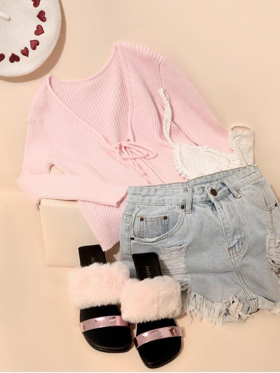shop ZAFUL Ribbed Knit Slim Tie Cardigan - LIGHT PINK S